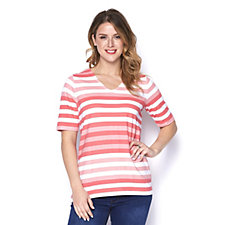 164599 - Denim & Co. Perfect Jersey Elbow Sleeve V Neck Striped Top