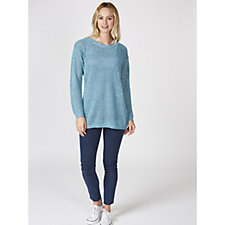 Marble Multi Tone Sweater with Pointelle Knit & Zip Detail