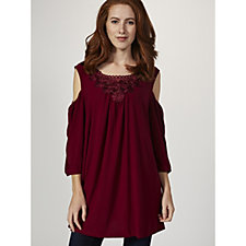 3/4 Sleeve Cold Shoulder Top with Neckline Detail by Nina Leonard