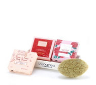 L'Occitane 4 Piece Floral Soap Collection With Ceramic Tray