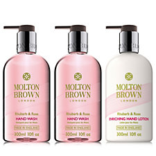 208274 - Molton Brown Rhubarb & Rose 3 Piece Hand Wash & Lotion Collection
