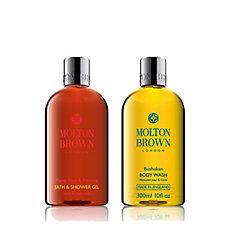 Molton Brown Flame Tree & Pimento & Bushukan Body Wash Duo