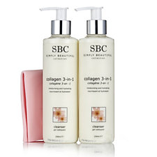 SBC 3 Piece Collagen Cleanser Duo with Shammy