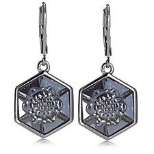 Aurora Swarovski Crystal Hexagon Lever Back Earrings