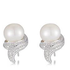 Honora 8.5-9mm Cultured Pearl & Diamond Swirl Earrings Sterling Silver