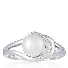 Honora Pearls 7.5mm Cultured Button Pearl Diamond Ring Sterling Silver
