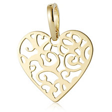 Bronzo Italia Filigree Heart Enhancer Pendant