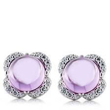 Diamonique by Tova 5.5ct tw Cabochon Stud Earrings Sterling Silver