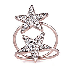 loveRocks Pave Crystal Star Elongated Ring
