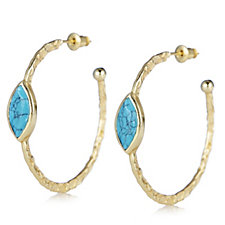 306001 - Azuni London Semi Precious Gemstone Hoop Earrings