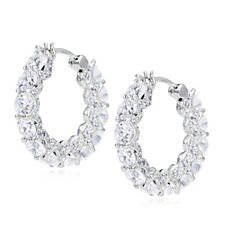 Diamonique 6.9ct tw Ultimate Glamour Hoop Earrings Sterling Silver