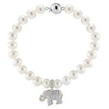 Diamonique by Tova 0.2ct tw Elephant Charm 19cm Bracelet Sterling Silver