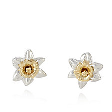 Azendi Birthday Flowers Daffodil Earrings Sterling Silver