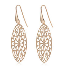 Bronzo Italia Oval Cutout Pattern Drop Earrings