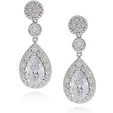 Diamonique 2.5ct tw Halo Pear Cut Drop Earrings Sterling Silver