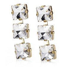 loveRocks Square Cut Crystal Drop Earrings