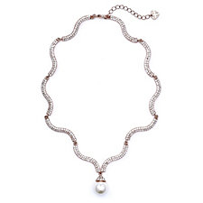 loveRocks Pave Wave Faux Pearl Drop 38cm Necklace with 6cm Extender