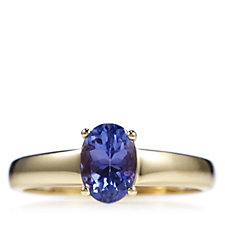 1ct AAA Tanzanite Oval Solitaire Ring 18ct Gold