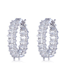 Diamonique by Andrea McLean 4.5ct tw Marquise Hoop Earrings Sterling Silver