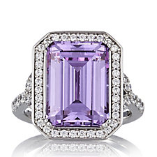 Diamonique by Tova 8.6ct tw Emerald Cut Cocktail Ring Sterling Silver
