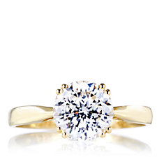 Diamonique 2ct tw 100 Facet Solitaire Ring 9ct Gold