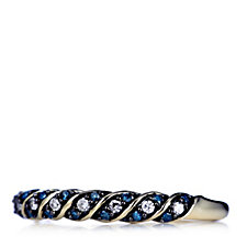0.15ct Blue & White Half Eternity Diamond Ring 9ct Gold