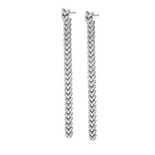 Diamonique 2.2ct tw Chevron Front & Back Drop Earrings Sterling Silver