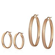 Bronzo Italia Set of 2 Oval Hoop Earrings