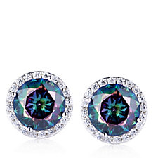 Diamonique 8.4ct tw Simulated Mystic Topaz Stud Earrings Sterling Silver