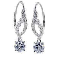Diamonique 2.4ct tw Leverback Drop Earrings Sterling Silver