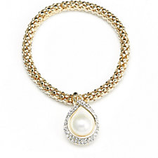 Frank Usher Suspended Simulated Pearl Crystal Stretch Bracelet