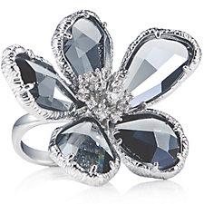 Frank Usher Glass Flower Expandable Ring