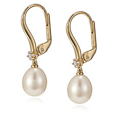 Honora 7-7.5mm Cultured Pearl & Diamond Leverback Earrings Sterling Silver