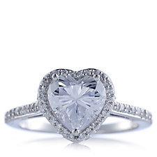 Michelle Mone for Diamonique 2.1ct tw Heart Ring Sterling Silver