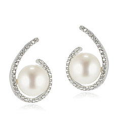 Honora 8.5-9mm Button Pearl White Topaz Stud Earrings Bronze