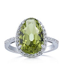 Diamonique 4.8ct tw Simulated Diamond Kollur Green Ring Sterling Silver