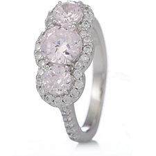 Michelle Mone for Diamonique 2.9ct tw 3 Stone Cocktail Ring Sterling Silver