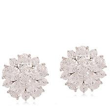Diamonique 4.7ct tw Cluster Stud Earrings Sterling Silver