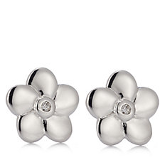 D for Diamond Flower Stud Earrings Sterling Silver