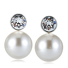 Nour Simulated Pearl Drop with Crystal Stud Earrings
