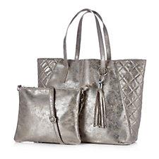 Frank Usher Metallic Effect Tote Bag with Zip & Cosmetic Bag