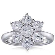 306605 - Diamonique by Andrea McLean 1.8ct tw Flower Ring Sterling Silver