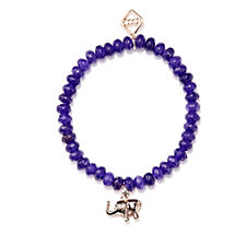 MeMe London Faceted Agate 6mm Bead Stretch Charm Bracelet
