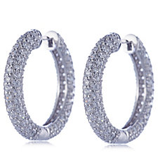 Michelle Mone for Diamonique 4.8ct tw Pave Hoop Earrings Sterling Silver