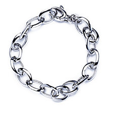 Bianca Platinum Plated Oval Link Rolo 20cm Bracelet Sterling Silver
