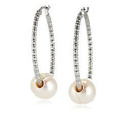 Honora 10mm Ringed Pearl Hoop Earrings Bronze