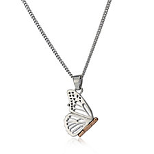 Clogau 9ct Rose Gold & Sterling Silver Butterfly Locket & 56cm Chain