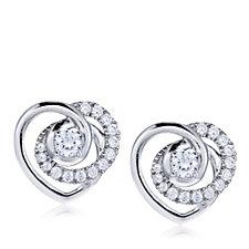 Diamonique 0.45ct tw Swirl Heart Stud Earrings Sterling Silver