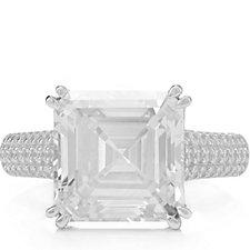 321505 - Michelle Mone for Diamonique Asscher Cut Cocktail Ring Sterling Silver