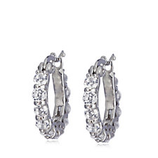 Diamonique 2ct tw 100 Facet Front to Back Hoops Earrings Sterling Silver